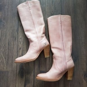 Rare Frye Rose Blush Pink Knee High Western Boot